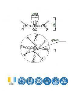 Medidas lámpara plafón LED blanco ADN 72W