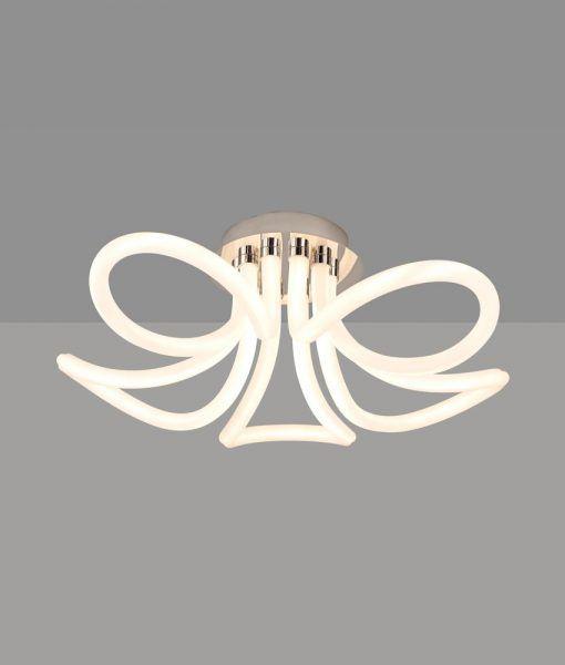Lámpara plafón LED cromo y blanco KNOT LINE detalles