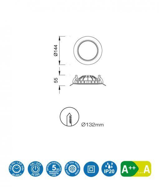Medidas ojo buey LED 12W 14,4 cm Ø CABRERA