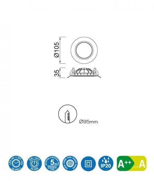 Medidas ojo buey LED 6W 10,5 cm Ø CABRERA