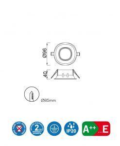 Medidas ojo de buey 9,6 cm Ø COMFORT GU10