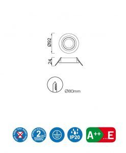 Medidas ojo de buey circular 9,2 cm Ø BASICO GU10