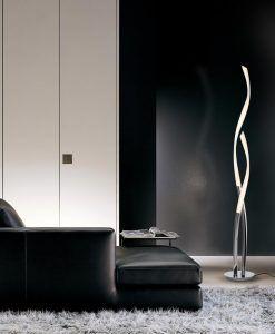 Pie de salón LED blanco y cromo ARMONIA ambiente