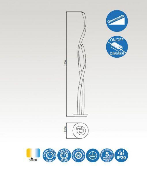 Medidas pie de salón LED blanco y cromo ARMONIA