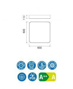 Medidas plafón 60 cm blanco CUMBUCO LED