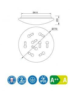 Medidas plafón blanco 77 cm diámetro ZERO E27