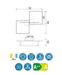 Medidas plafón blanco MURAL LED