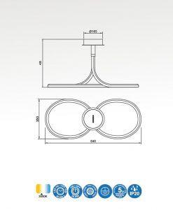 Medidas plafón cromo y blanco NUR LINE LED