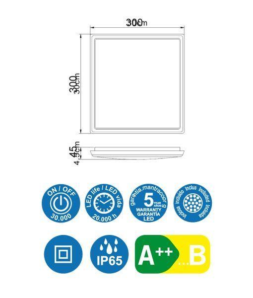 Medidas plafón cuadrado blanco 18W ANETO LED