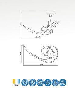 Medidas plafón de diseño cromo y blanco ARMONIA LED