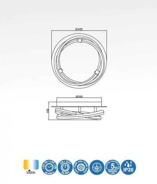 Medidas plafón de diseño cromo y blanco INFINITY LINE LED