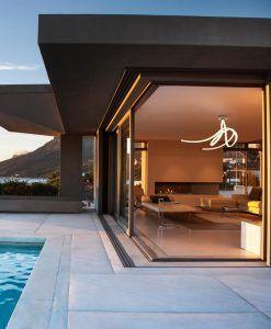 Plafón de techo blanco y cromo ARMONIA LED ambiente