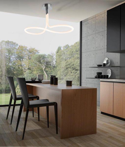 Plafón de techo cromo y blanco NUR LINE LED ambiente
