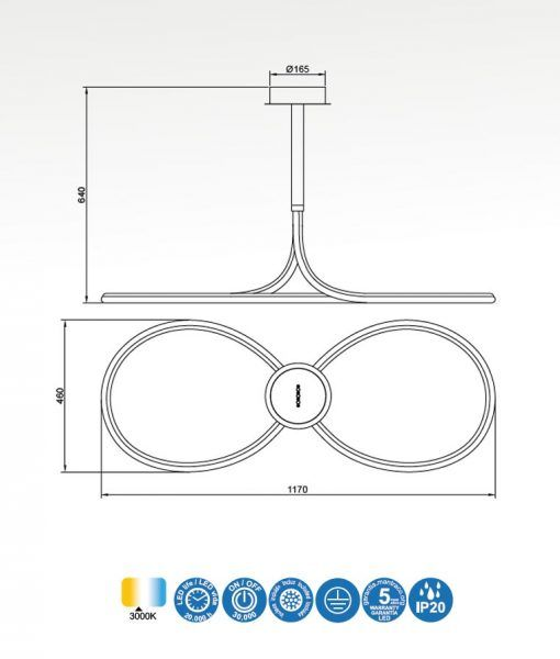 Medidas plafón de techo cromo y blanco NUR LINE LED