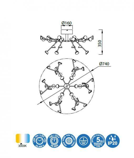 Medidas plafón LED blanco ADN 100W