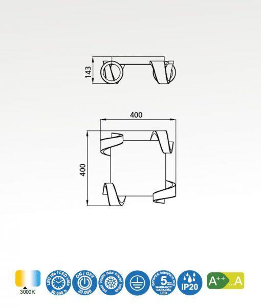 Medidas plafón LED blanco TSUNAMI