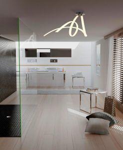 Plafón LED blanco y cromo ARMONIA ambiente