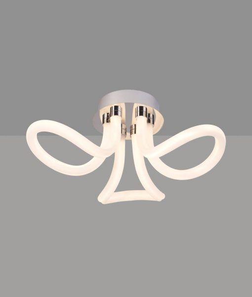 Plafón LED cromo y blanco KNOT LINE detalles