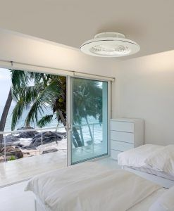 Plafón ventilador cromo y blanco ALISIO LED ambiente