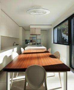 Plafón ventilador cromo y blanco ALISIO LED ambiente 2