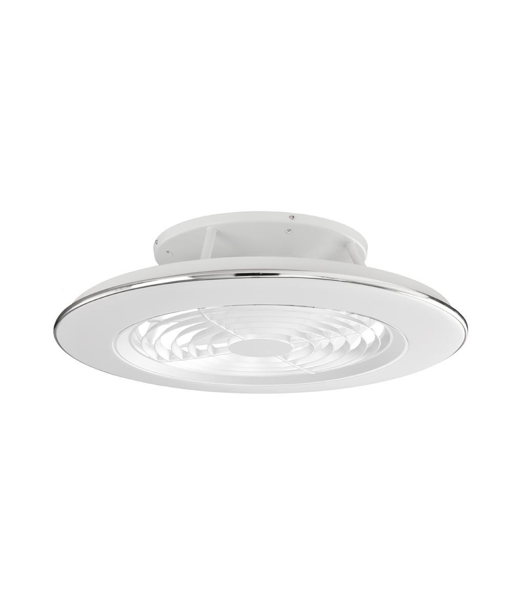 Plafón ventilador Alisio Mantra cromo y blanco LED