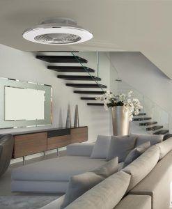 Plafón ventilador cromo y plata ALISIO LED ambiente