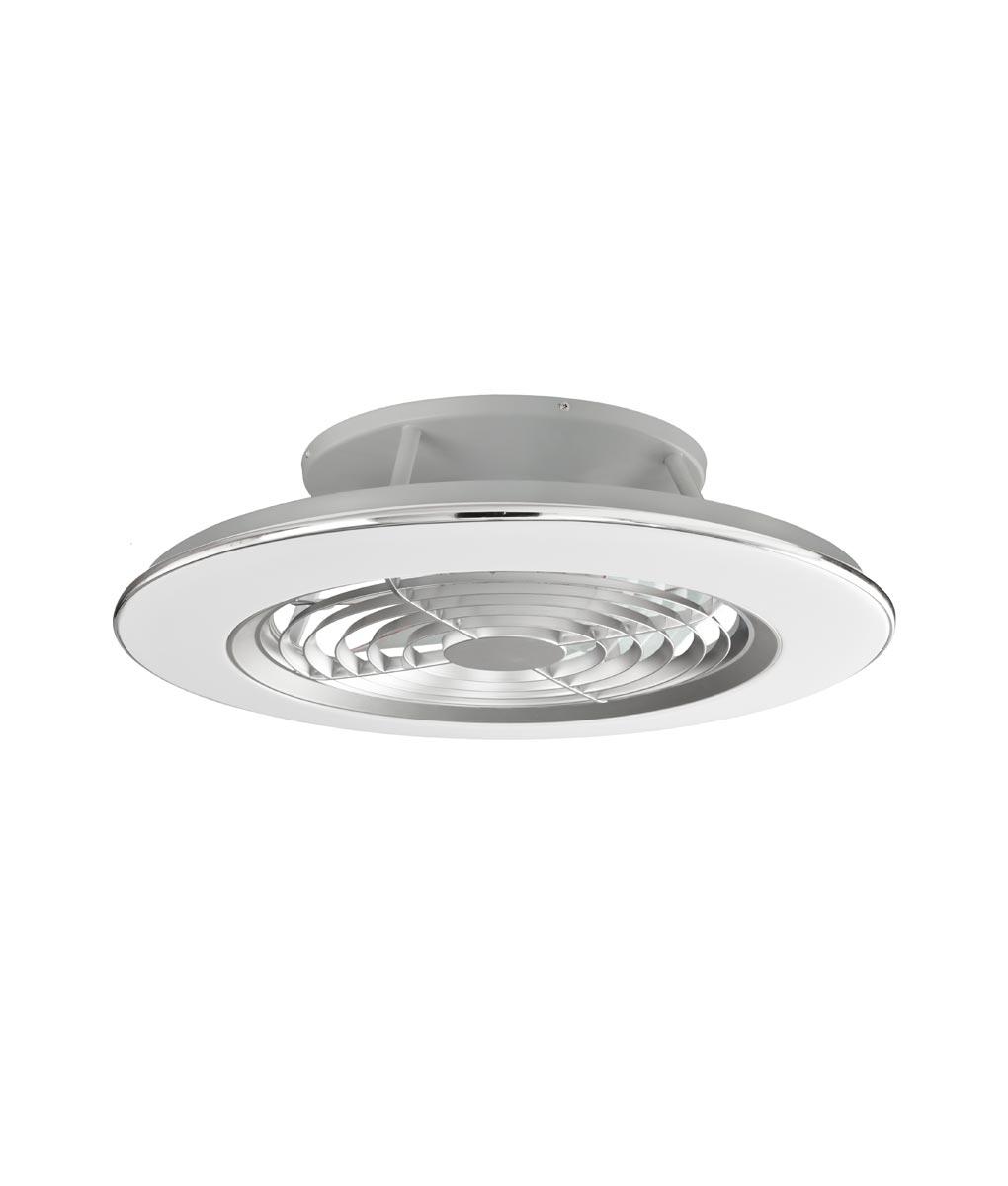 Plafón ventilador cromo y plata ALISIO LED