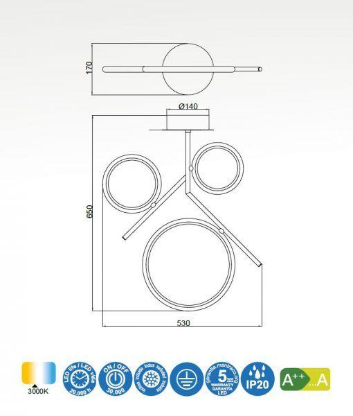 Medidas semiplafón cromo OLIMPIA LED