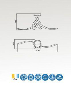 Medidas semiplafón cromo y blanco ARMONIA LED