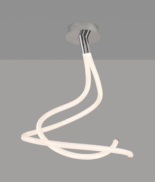 Semiplafón cromo y blanco NUR LINE LED detalles