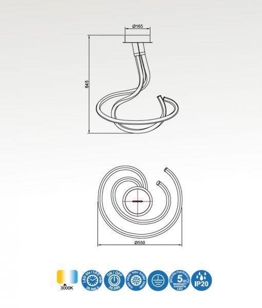 Medidas semiplafón cromo y blanco NUR LINE LED