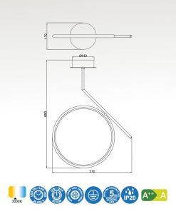 Medidas semiplafón de techo LED cromo OLIMPIA