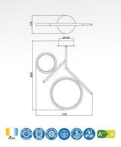 Medidas semiplafón dos aros oro satinado OLIMPIA LED