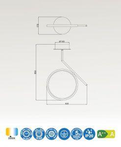 Medidas semiplafón LED cromo OLIMPIA
