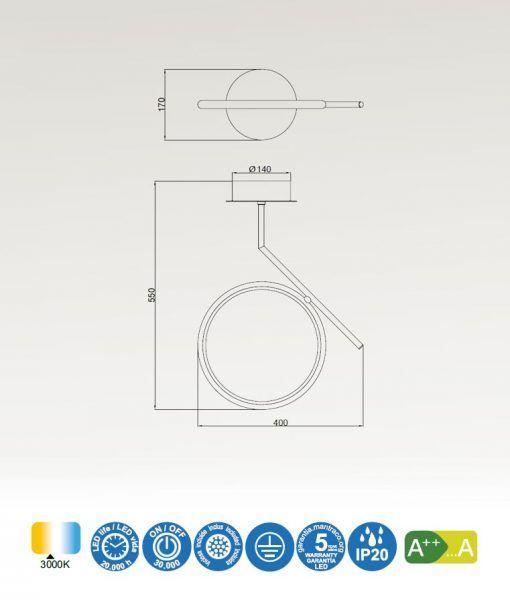 Medidas semiplafón LED oro satinado OLIMPIA