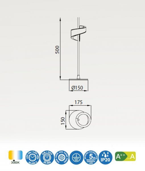 Medidas sobremesa LED blanco TSUNAMI