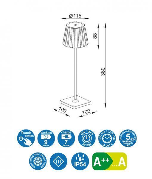 Medidas sobremesa portátil K2 LED