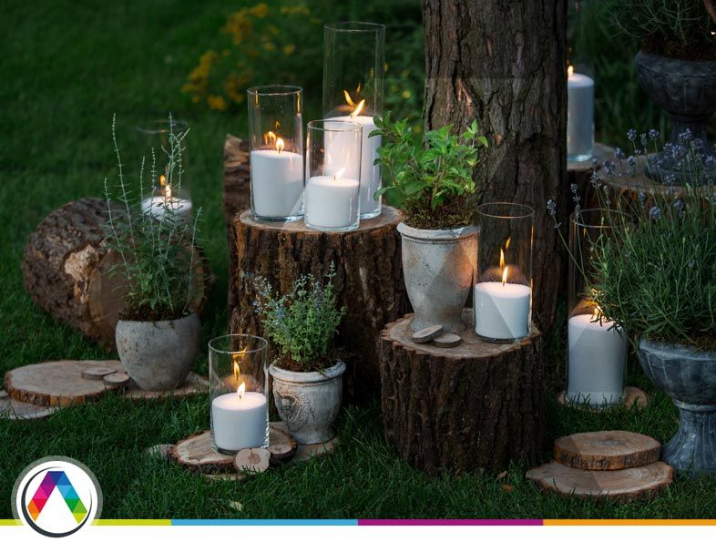 Decoración con velas para luz ambiental
