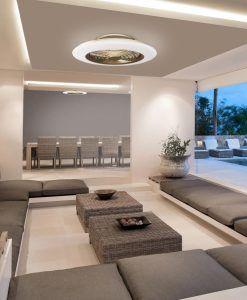 Plafón ventilador cuero y blanco ALISIO LED ambiente