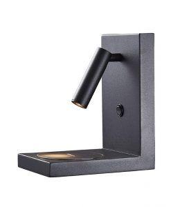 Aplique negro mate 3W con cargador móvil ZANZIBAR
