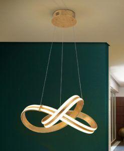 Lámpara colgante 46 cm Ø dorada LAZAS LED