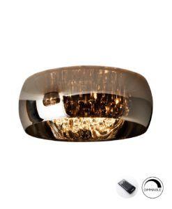 Lámpara de techo dimable 50 cm Ø cromo y cristal ARGOS