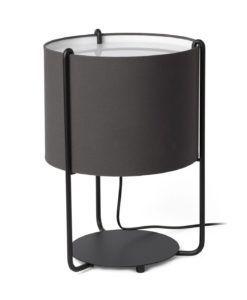 Lámpara sobremesa negra y pantalla gris oscuro DRUM