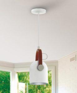 Lámpara 1 luz blanca cromo y polipiel ADAME