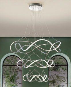 Lámpara cromo 3 aros Ø 110 cm MOLLY LED