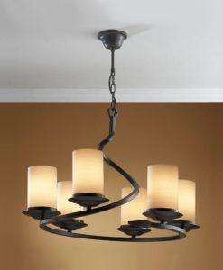 Lámpara rústica hierro forjado negro óxido 6 luces CRISOL